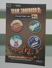 LOOTCRATE LIMITED EDITION TEAM FORTRESS 2 COLLECTOR'S SET OF 4 BADGES BRAND NEW!
