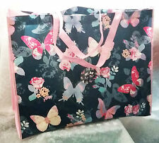 Retro style~Large shopping Tote bag blue & pink butterfly design NEW