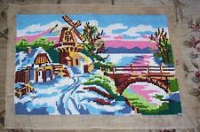 """Gorgeous Vintage Huge 26"""" x 19"""" Completed/Finished Needlepoint Cute Windmill"""