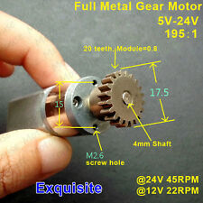DC 5V-24V 12V 45RPM Full Metal Gearbox Motor Mini Speed Reduction Gear Motor DIY