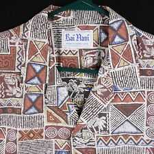 VTG Hawaiian Shirt Kai Nani Made in Hawaii USA Brown White Tribal Reverse Print
