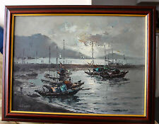 H Leung Original Oil Seascape Painting ( Sampans at Dusk)