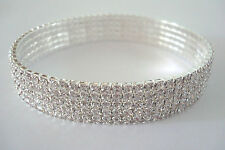 Five Row Ladies Stretchy Clear Diamante Ankle Bracelet Rhinestone Anklet
