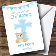 Boys Dedication Blue Cross Personalised Christening Greetings Card