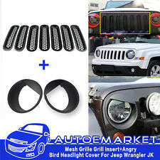 9× Mesh Grille Grill Insert+Angry Bird Headlight Cover Trim For Jeep Wrangler JK