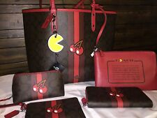 Coach X PacMan Cherry Reversible Tote, Wallet,Cosmetic,Wristlet Key Fob 5pcs Set