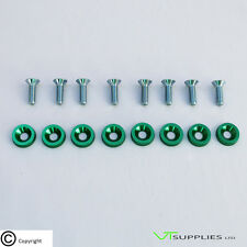 Plain Green M6 Anodized Aluminium Fender Washer Kit for Engine Bay -Zinc Bolts