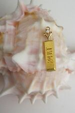 Vintage 24K Solid Yellow Gold Bar w/Diamond Pendant~Charm~3.1 Grams~Pure 9999