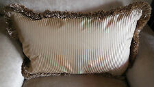 LAST ONE! New OBLONG Antique Gold Beige FINE STRIPED SILK Cushion cover