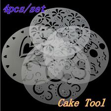 4pcs Flower Cake Cookie Fondant Side Baking Wedding Stencil Decorating DIY Tools