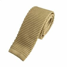 Men's Plain Dark Oatmeal Narrow Slim Skinny Silk Knitted Tie