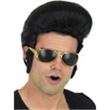 1950's Black Elvis Presley Wig - Adults Mens Pop King Rock N Roll 50's