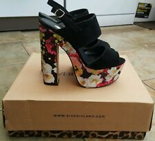 River island black and floral print block heel. Size 4
