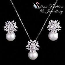 18K White Gold GP Simulated Pearl & Crystal Luxury Large Snowflake Set Jewellery