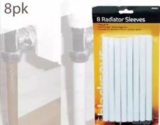 8 RADIATOR SLEEVES PIPE COVERS WHITE 15MM PIPE 15.6CM PACK OF 8 SHROUDS COVERING