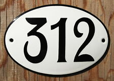 CLASSIC ENAMEL HOUSE NUMBER SIGN. BLACK NUMBER 312 ON A WHITE BACKGROUND 12x8cm.