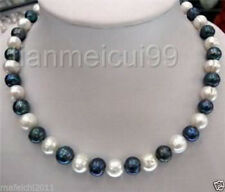8-9mm Natural Black & White freshwater Cultured Pearl Fashion Necklace