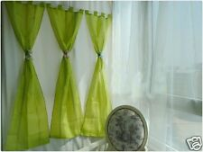 1 Piece Embroidery Green CottonTap Top Curtain 60x158cm