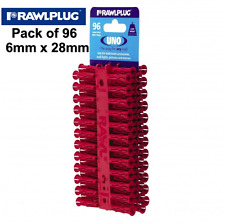 GENUINE RAWLPLUG UNO Screw Wall Plugs Pack of 96 Red 6mm x 28mm