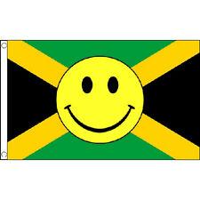 Jamaica Smiley Face Flag 5Ft X 3Ft Caribbean Island Rasta Banner New