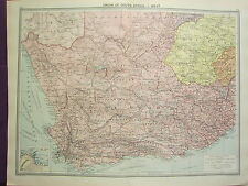 1920 LARGE MAP ~ UNION OF SOUTH AFRICA WEST CAPE TOWN ENVIRONS ORANGE FREE STATE