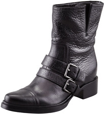$990 Miu Miu- PRADA Brown Combat Double buckle Motorcycle Boot Biker Bootie 38-8