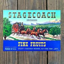 Vintage Original STAGECOACH FINE FRUITS crate box label NOS never used