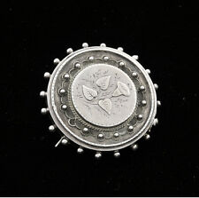 English Victorian Late 19th Century Sterling Mourning Photo or Hair Locket / Pin