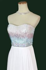 New Authentic Tony Bowls 115544 Beaded White/Pink Bridal Evening Pageant Gown 6