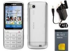New Condition Nokia c3-01 5MP Bluetooth Silver Touch & Type 3G Unlocked Phone