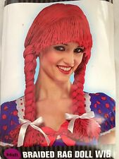Braided Red Yarn Adult Costume Hair Wig