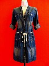 MICHAEL  KORS   BLUE  ROLL UP SLEEVE  JEANS   DRESS  size  M