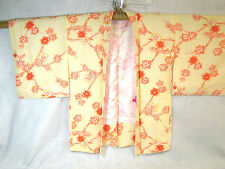 Japanese Short Kimono Jacket Beige with Coral & White Floral Pattern Lined