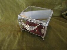 Antique French Napoleon III empire gilt jewelry box bevelled glass 1860s