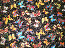Gorgeous Glittery Butterflies & Gold Polka Dots on Black Cotton Fabric