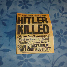 Dollhouse miniature newspaper HITLER KILLED!  Last moments, his Will, and more!