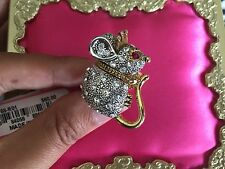 Betsey Johnson Vintage Ice Princess Mouse Crystal Crown Ring 7.5 VERY RARE