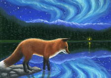 Red fox aurora northern lights lake wildlife limited edition aceo print art