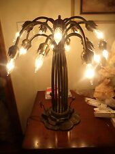 "Vintage Tiffany Style 15 Shade Lily Lamp Bronze Base 21.5"" NO SHADES BASE ONLY"