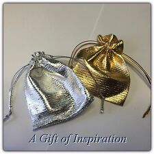 Pack of 5 SILVER gift bags 9cm x 7cm metalic drawstring, wedding, gifts,jewelery