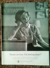 "1960 Original Print Ad - Bell Telephone System - ""Exams are over."""