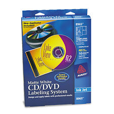 Avery CD/DVD Design Labeling Kits Matte White 40 Inkjet Labels and 10 Inserts