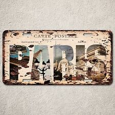 LP0118 PARIS Postage Trip Auto License Plate Rust Vintage Home Store Decor Sign
