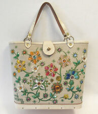 VINTAGE 1966 ENID COLLINS JEWEL GARDEN III HANDBAG CANVAS LEATHER WOOD JEWELS