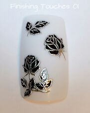 Nail Art Sticker- 3D Black Silver Flower #324 TJ031 Transfer Decal Metallic