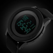 Fashion Black Mens Rubber LED Digital Date Military Quartz Sport Wrist Watch