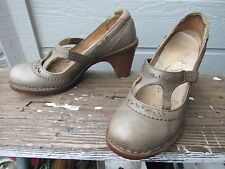 El Naturalista Gray Leather T-Strap Mary Jane Pump Heel Women's US 7 ADORABLE