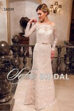16039 - off the shoulder lace bridal gown with keyhole back and long sleeves.