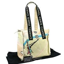 Auth CHANEL Spangle CC Shoulder Tote Bag Ivory Pink Black Canvas Vintage V08707