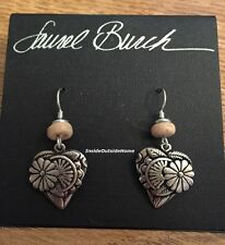 Laurel Burch Blossoming Heart Earrings Antiqued Silver Tone NEW Retired Rare